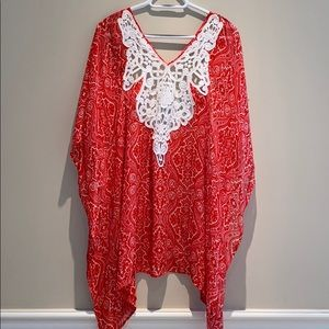 Red paisley  💯 silk cover up.